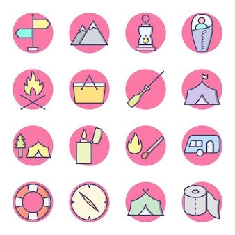 Zestaw campingowych ikon na białym tle