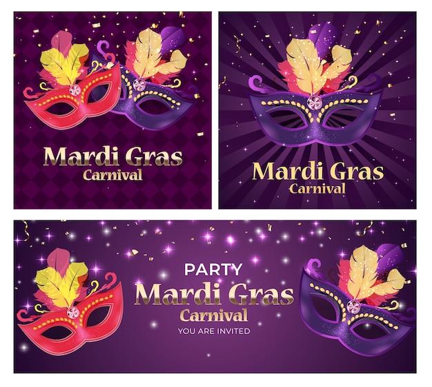 Zestaw carnaval tradycyjna maska z piórami i konfetti banery.