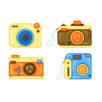 Zestaw cartoon ilustracji wektorowych aparatu fotograficznego. styl kreskówki