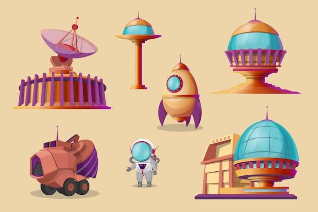Zestaw cartoon kolonizacji marsa. spaceship, wahadłowiec, rakieta, mars rover - spychacz
