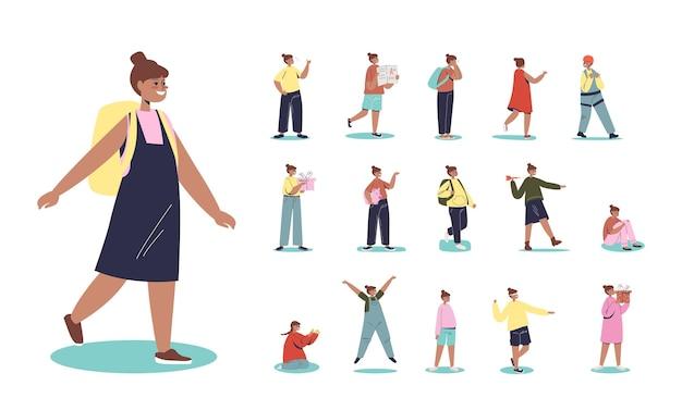 Zestaw cartoon mix race african american school girl z plecakiem w różnych sytuacjach życia i pozach: spacer z pudełkiem na urodziny, trzymaj skarbonkę z oszczędnościami. płaska ilustracja wektorowa