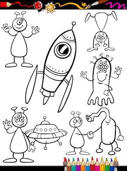 Zestaw cartoon obcych dla kolorowanka
