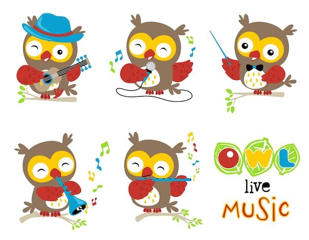 Zestaw cartoon sowa odtwarzanie muzyki