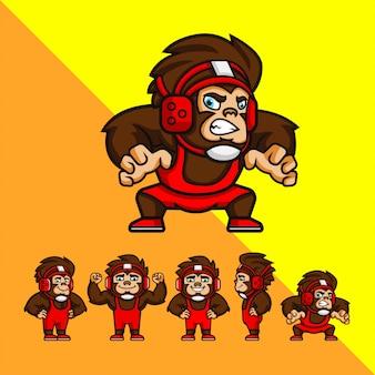 Zestaw cartoon wrestler monkey z niektórych stwarzają. ilustracja maskotka logo
