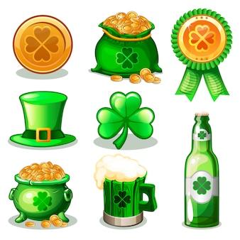 Zestaw cartoon zielonych ikon świętego patryka,