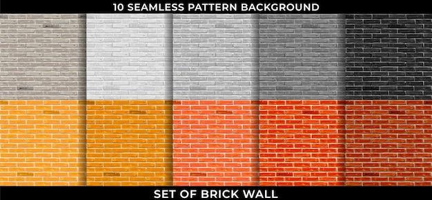Zestaw ceglany mur wzór bezszwowe tło. projekt