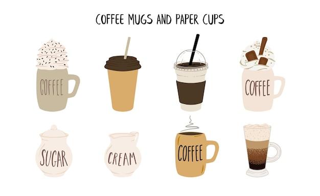 Zestaw ceramicznych kubków do kawy i papierowych czapek w stylu płaski
