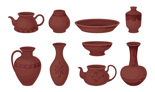 Zestaw ceramiki na białym tle
