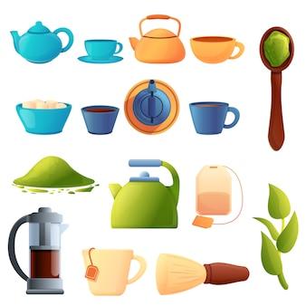 Zestaw ceremonii parzenia herbaty, stylu cartoon