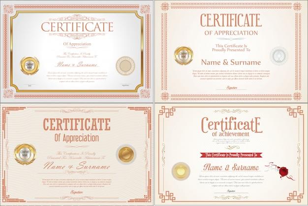 Zestaw certyfikatów osiągnięć z pieczęciami