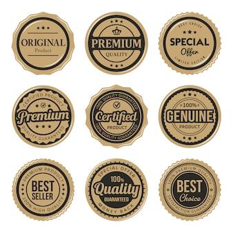 Zestaw certyfikowanych vintage odznak i etykiet premium