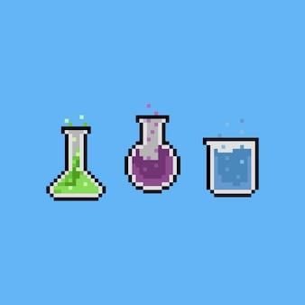 Zestaw chemiczny pixel art 8bit.