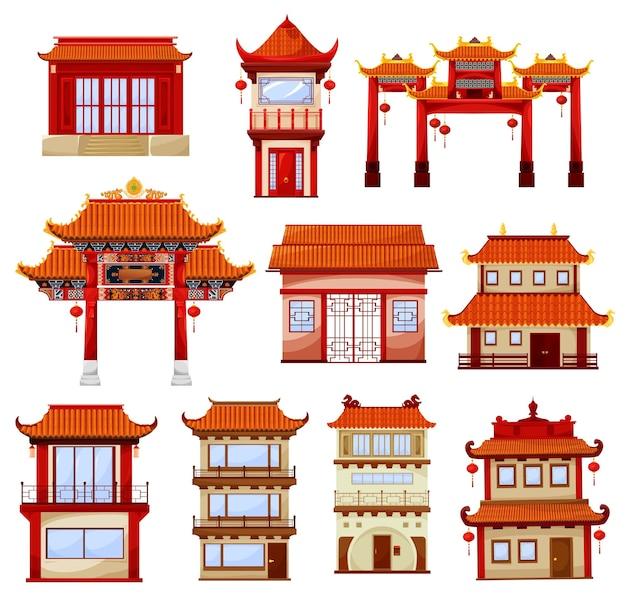 Zestaw chińskich budynków na białym tle