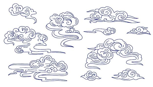 Zestaw chińskich chmur ozdobnych, grafika liniowa