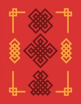 Zestaw chińskich węzłów edless.