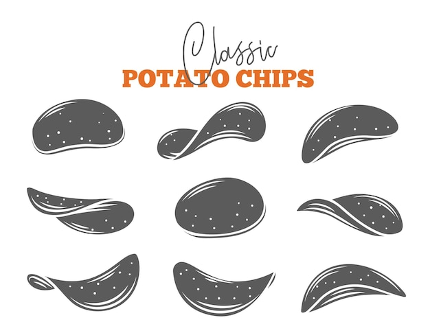 Zestaw chipsów ziemniaczanych. monochromatyczna izolowana chrupiąca przekąska, ziemniak