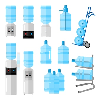 Zestaw chłodnicy do wody na białym tle. biuro chłodnicy i butelki, usługa dostarczania wody, wózek dostawczy z butelkami w stylu płaskiej ilustracji wektorowych.