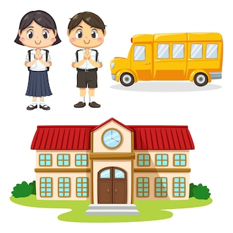 Zestaw chłopca i dziewczyny sobie ucznia w mundurze i tornister