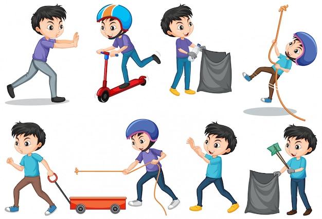 Zestaw chłopców wykonujących różne działania