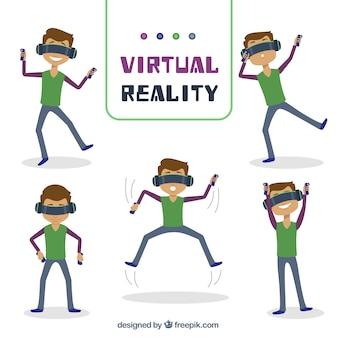 Zestaw chłopiec zabawy z wirtualnymi okulary rzeczywistości