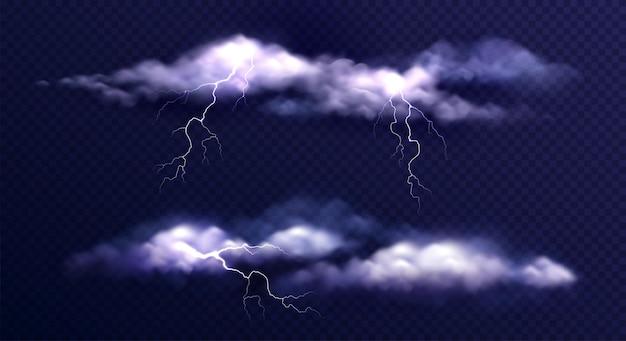 Zestaw chmur burzowych w ciemności