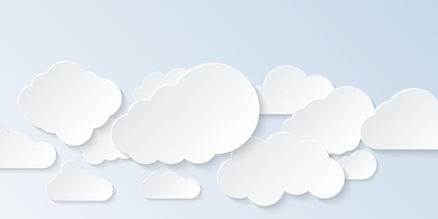 Zestaw chmur. kreskówka chmury na białym tle na jasnym tle. .