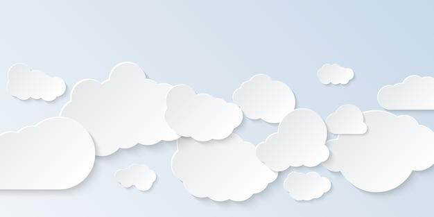 Zestaw chmur. kreskówka chmury na białym tle