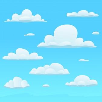 Zestaw chmur różnych kształtów