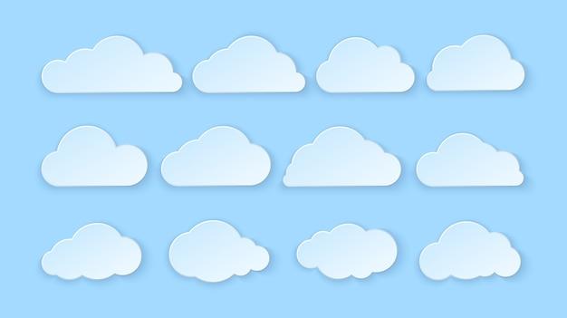 Zestaw chmur streszczenie papieru. papierowe chmury na niebieskim tle.