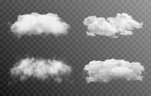 Zestaw chmur wektorowych lub dymu na izolowanym przezroczystym tle chmura dymu mgła png