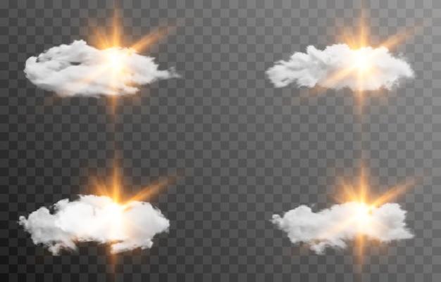 Zestaw chmur wektorowych ze słońcem świt wschodu światła promienie słoneczne chmura dymu mgła png