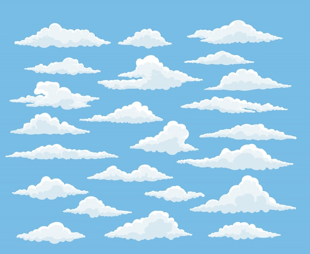Zestaw chmura kreskówka