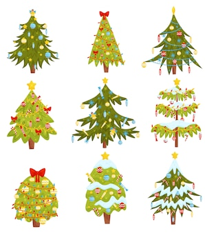 Zestaw choinek z różnymi dekoracjami. motyw ferii zimowych