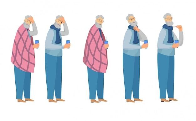 Zestaw chory. zimny człowiek z termometrem, picie gorącej herbaty, kicha z grypą na białym. przedmioty na sezon grypowy