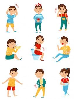 Zestaw chorych dzieci. mali chłopcy i dziewczęta z różnymi chorobami. przeziębienie, ból zęba, alergia lub grypa, ból brzucha, złamanie ręki