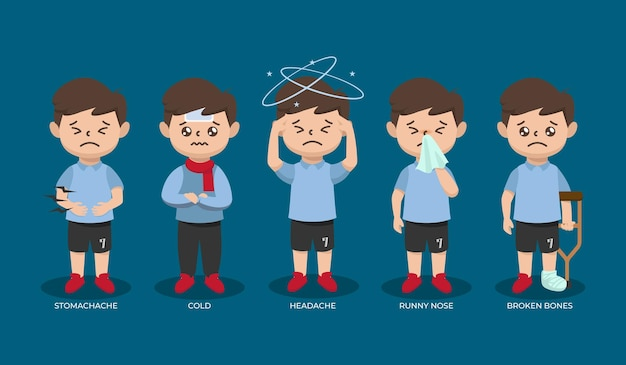 Zestaw chorych dzieci nastolatka chłopca z różnymi ilustracjami projektu choroby