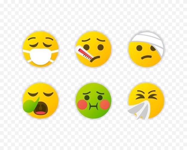 Zestaw chorych emoji. kolekcja choroby ikony emotikon na białym tle. ilustracja wektorowa eps 10