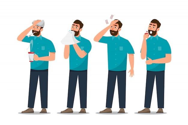 Zestaw chorych ludzi źle się czujących, mających przeziębienie, ból głowy i gorączkę