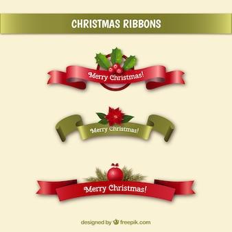 Zestaw christmas wiadomości wstążek w realistycznym stylu