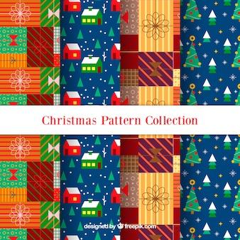 Zestaw christmas wzorów w płaskim stylu
