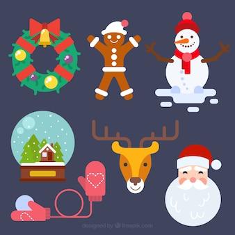 Zestaw christmas znaków i obiektów