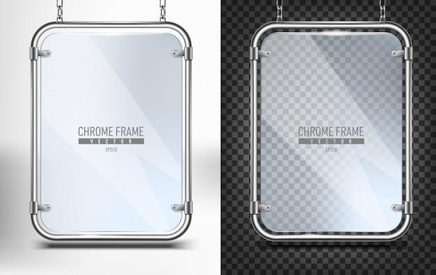 Zestaw chromowanej ramy ze szkłem na baner. reklamowy panel dla teksta obwieszenia na łańcuchach na białym i czarnym tle