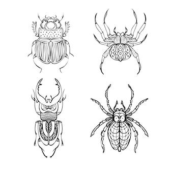 Zestaw chrząszczy i pająków linii ilustracji wektorowych styl rysowania ręcznego