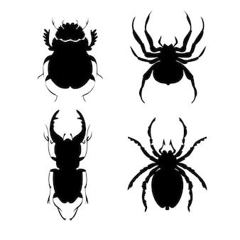 Zestaw chrząszczy i pająków sylwetka wektor ilustracje ręka styl rysowania