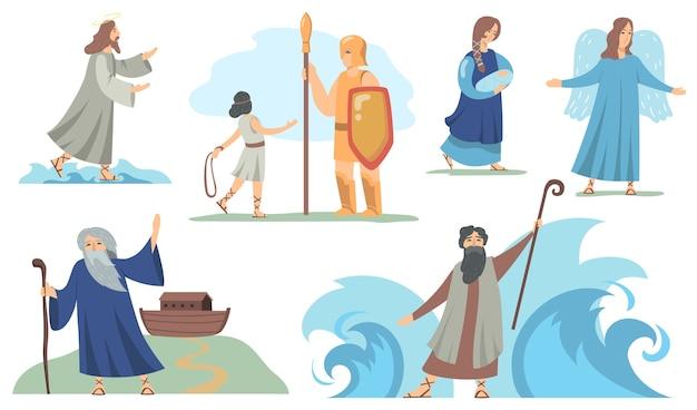 Zestaw chrześcijańskich znaków biblijnych. noe i dziewica maryja, juda i mojżesz, anioł i jezus. ilustracje wektorowe dla religii, tradycyjnych opowieści biblijnych, kultury