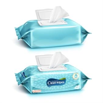 Zestaw chusteczek do czyszczenia w jasnozielononiebieskim kolorze, jedna z wzorem opakowania i jedna bez