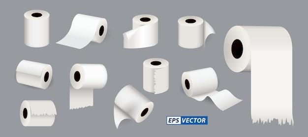 Zestaw chusteczek toaletowych lub pusty szablon papieru toaletowego wektor eps