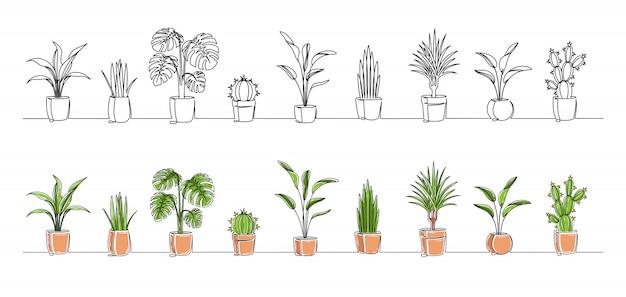 Zestaw ciągłego rysowania jednej linii kwiatów w doniczkach