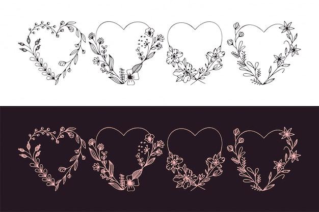 Zestaw ciągnione serca wieniec z stylizowane kwiaty