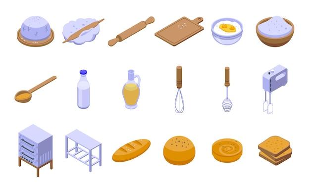 Zestaw ciasta. izometryczny zestaw ciasta na projektowanie stron internetowych na białym tle